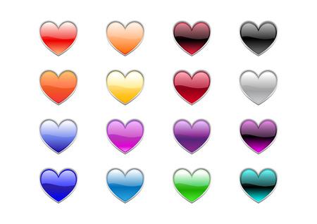 Vector illustration of modern, shiny, heart shape buttons. Vector