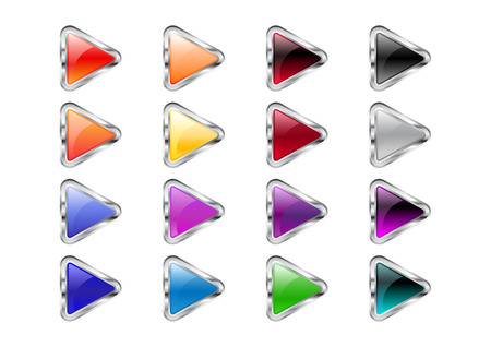 Vector illustration of modern, shiny, triangle arrow buttons. Stock Vector - 4660704