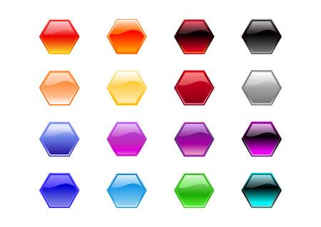 Vector illustration of modern, shiny, hexagon shape buttons.