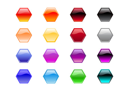 Vector illustration of modern, shiny, hexagon shape buttons. Vector