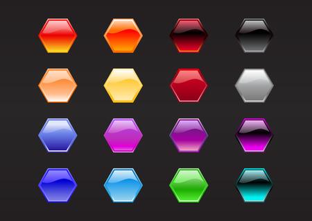 Illustration vectorielle de boutons de forme Hexagone moderne, brillant, sur le fond noir.