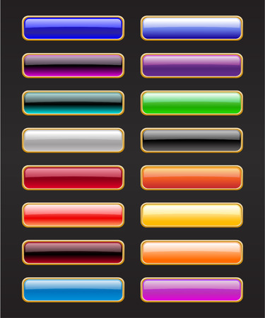 Vector illustration of modern, shiny, rectangle buttons on the black background.