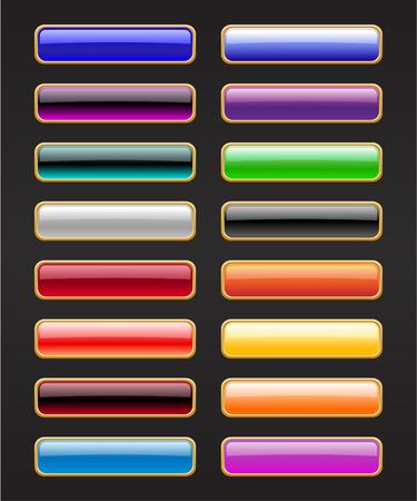 Ilustración vectorial de la moderna, brillante, botones en el rectángulo de fondo negro.