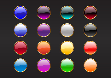 Vector illustration of modern, shiny, round buttons on the black background. Vector