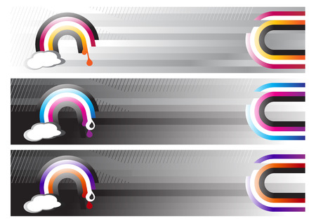 Vector illustration of three Rainbow Web Banners Vector