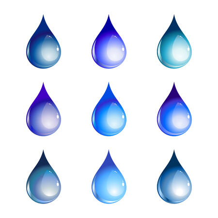 Vector illustration of the beautiful decoration water drops set. Vector