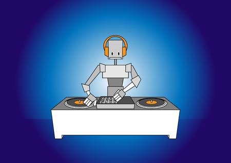 Vector illustration of dj robot. Vector