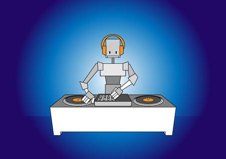 Vector illustration of dj robot. Vector
