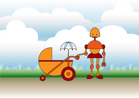 Vector illustration of mother robot walking with the stroller on the natural, sunny background. Vector