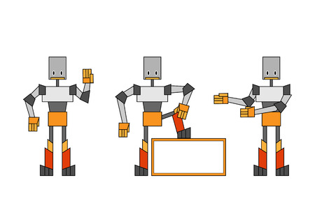 Vector illustration of three funky robots. Vector