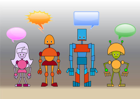 Vector Illustration of funny robots family decorated with comics bubbles Vector