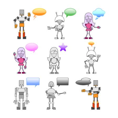 talking robot: Ilustraciones Vectoriales de divertidos robots decorada con burbujas de c�mics