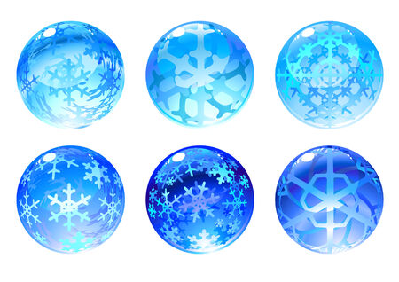 Vector illustration of the beautiful blue balls set decorated with snowflakes. Vector
