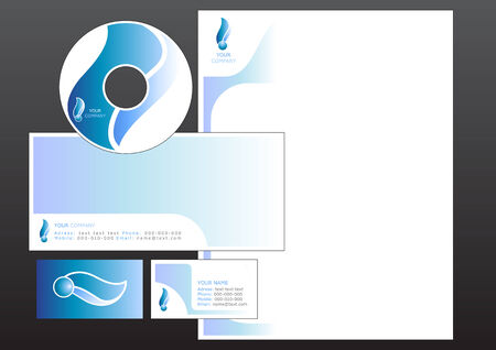 cd label: Vector illustration of modern, design set. Includes the design for bussiness card, letterhead, CD label and envelope.