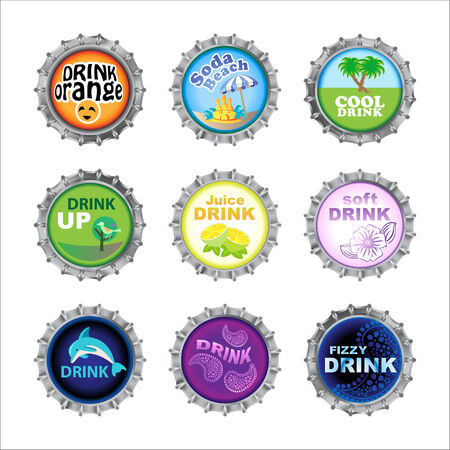 Vector illustration of bottle cups set, decorated with different objects. Vector