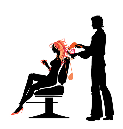 Vector illustratie van de mooie vrouw silhouet in kapsalon.