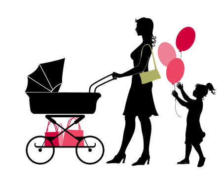shopping carriage: Vector illustration of the walking mother, pushing the stroller and her daughter, holding the balloons.