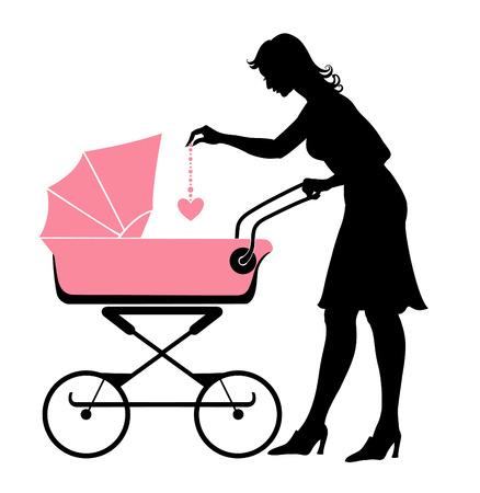 Ilustración vectorial de la madre a pie, empujando el cochecito y jugar con su bebé.