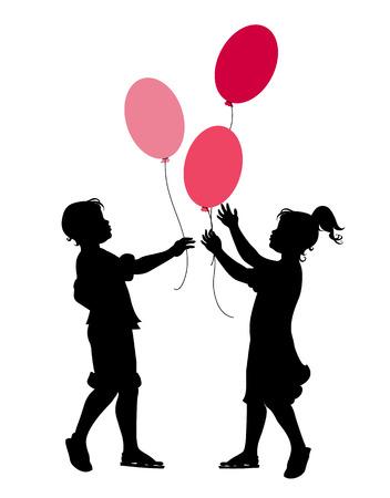 hermanos jugando: Ilustraci�n vectorial de los peque�os ni�os y ni�as jugando con globos.