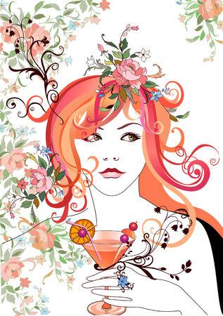Vector Illuctration: Abstract mooi meisje, die de cocktail, met bloemen in het haar.