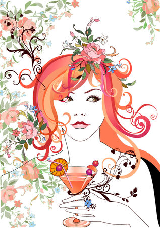 Vector Illuctration of Abstract beautiful girl, holding the cocktail, with flowers in hair. Vector