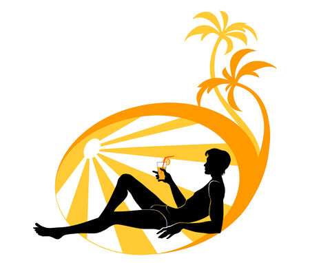 Vector illustration of handsome young man on the beach, drinking a cocktail. Stock Vector - 4660644