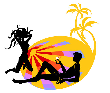 Vector illustration of handsome young man looking on the woman and drinking a cocktail. On the sunny, beach background. Vector