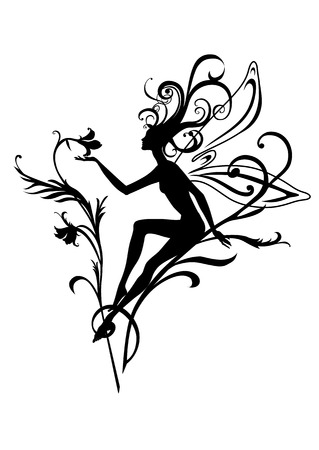 Vector  Illustration Silhouette of funky fairy on flower  pattern design Stock Vector - 4660641