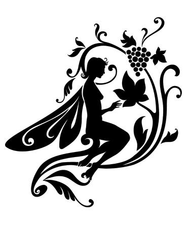 Vector Illustration Silhouette of funky fairy on flower pattern design Stock Vector - 4660690