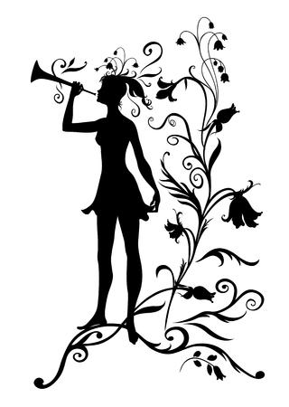 Vector Illustration Silhouette of funky fairy on flower pattern design Vector
