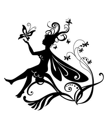 Vector Illustration Silhouette of funky fairy on flower pattern design Stock Vector - 4660693