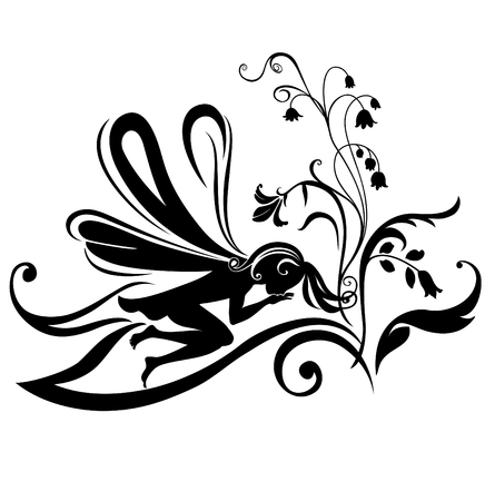 Vector Illustration Silhouette of funky fairy on flower pattern design Stock Vector - 4660639