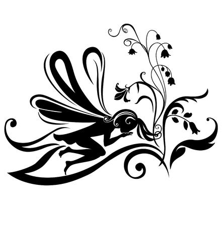 Vector Illustration Silhouette of funky fairy on flower pattern design Stock Vector - 4660639