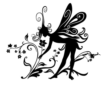 Vector Illustration Silhouette of funky fairy on flower pattern design Vector