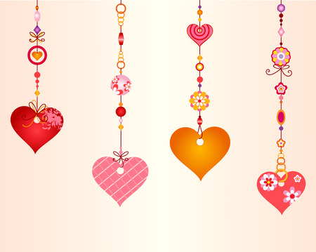Vector Illustration of Decorative Wind Chimes with fanky heart shapes design