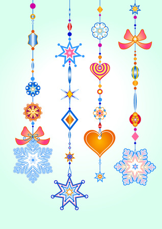 chimes: Vector Illustration of Decorative Wind Chimes with fanky snowflake shapes design Illustration