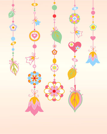 Vector  Illustration of   Decorative Wind Chimes with floral ornament design Vector