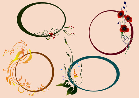 Vector illustraition set of funky Abstract floral border Illustration