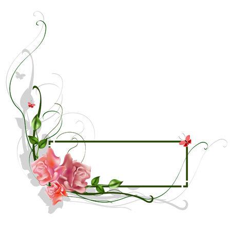Vector illustraition de cadre �l�gant avec de belles fleurs roses