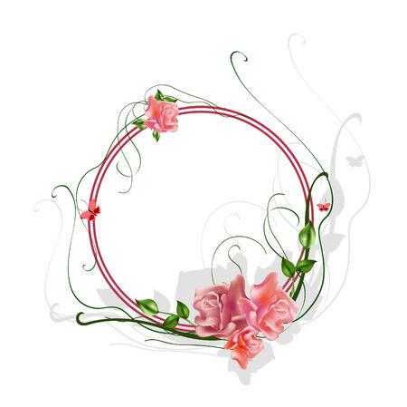 Vecteur de illustraition floral frame �l�gant avec de belles roses Illustration