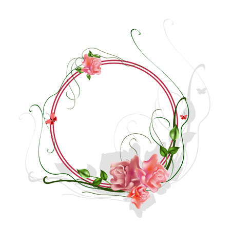 rose butterfly: Vector illustraition of elegant floral frame with beautiful roses Illustration