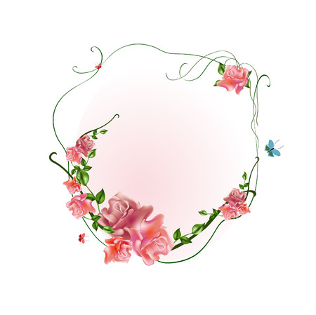 Vector illustraition of elegant floral frame with beautiful roses Illustration