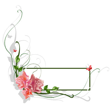 illustraition: Vector illustraition of elegant floral frame with beautiful roses Illustration