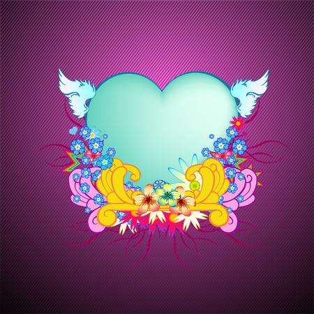 Vector illustraition of elegant floral frame with heart shape  Illustration
