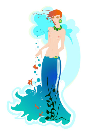 Vector illustartion of beautiful mermaid, decorated with flowers, fishes and seaweed. Vector