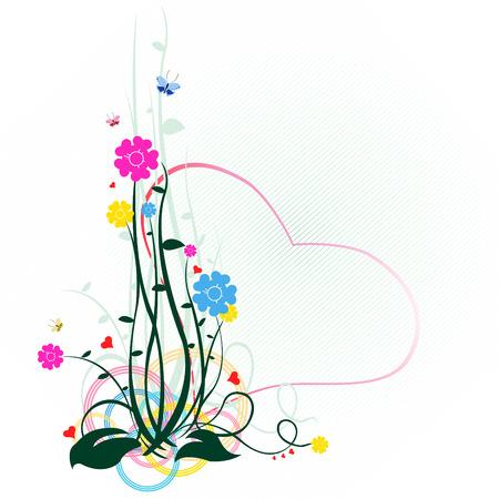 Vector illustraition of elegant floral elements with heart shape  Vector
