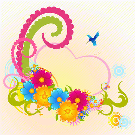 Vector illustraition of funky floral frame with heart shape  Vector