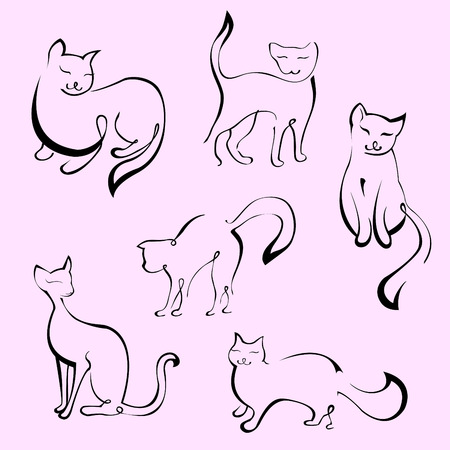 dorombolás: Vector illustraition of Cat Design Set made with simple line only