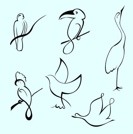 Vector illustraition de Bird Design Set fait avec une simple ligne seulement Vecteurs