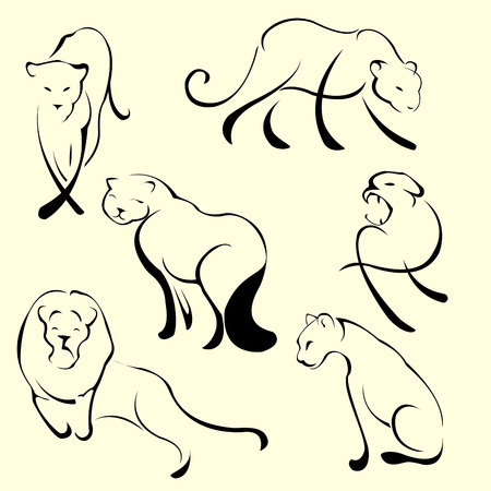 Vector illustraition of Lion Design Set made with simple line only Vector